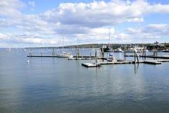 Barche sul porto di Rockland in Maine Immagine Stock Libera da Diritti