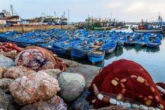 Barche sul porto, Essaouira, Marocco fotografie stock libere da diritti
