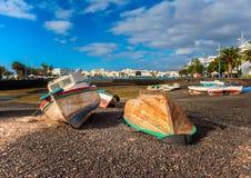 Barche sulla riva a Arrecife Lanzarote Immagine Stock Libera da Diritti