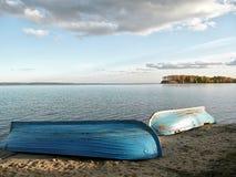 Barche sulla sabbia Fotografia Stock