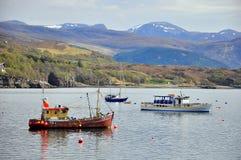 Barche sulla scopa del lago fotografia stock