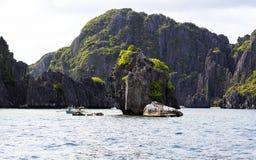 Barche sulla spiaggia del EL Nido, Filippine Fotografie Stock