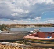 Barche a Titicaca fotografia stock libera da diritti