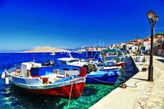Barche tradizionali del Greco di pesca Fotografia Stock