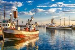 Barche tradizionali del pescatore in Islanda al tramonto Immagini Stock