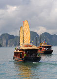 Barche turistiche, baia Vietnam di Halong Fotografia Stock