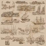 Barche - un pacchetto disegnato a mano di vettore Fotografia Stock Libera da Diritti