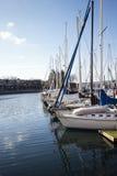 Barche a vela al pilastro di False Creek Fotografia Stock Libera da Diritti