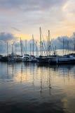 Barche a vela al tramonto Immagini Stock Libere da Diritti