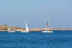Barche a vela all'arcipelago roccioso immagine stock libera da diritti