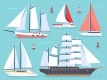 Barche a vela del trasporto, yacht, navigante nave da crociera Insieme di vettore isolato imbarcazione dell'oceano e del mare illustrazione di stock