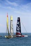 Barche a vela della corsa dell'oceano di Volvo nella corsa Fotografia Stock