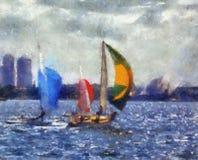 Barche a vela della pittura Immagini Stock