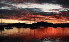 Barche a vela della siluetta di alba alle Figi di Denarau del porto Fotografie Stock