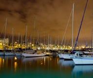 Barche a vela di notte Fotografia Stock Libera da Diritti