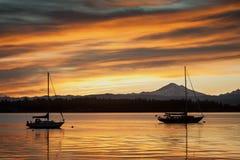 Barche a vela e panettiere di Mt. Immagine Stock Libera da Diritti