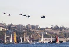 Barche a vela ed elicotteri Fotografie Stock Libere da Diritti