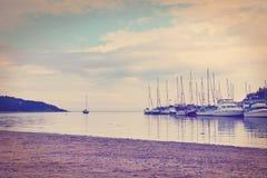 Barche a vela nell'effetto di porto-colore Fotografia Stock Libera da Diritti