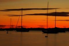 Barche a vela nella penombra Fotografie Stock Libere da Diritti