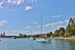Barche a vela sul fiume di Parramatta Fotografie Stock Libere da Diritti