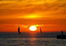 Barche a vela sul lago Michigan Fotografie Stock Libere da Diritti
