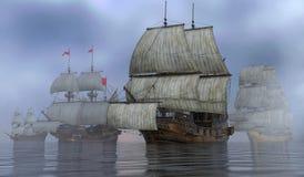 Barche a vela sull'illustrazione del mare 3D Fotografie Stock
