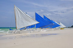 Barche a vela tradizionali su Boracay Fotografia Stock Libera da Diritti
