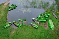 Barche verdi sulla banca del fiume fotografia stock