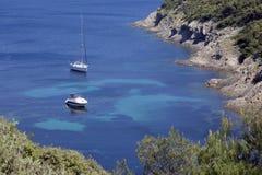 Barche vicino al litorale Fotografie Stock