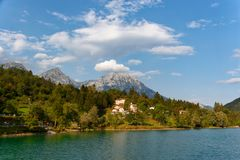 Barcis, Pordenone, Italy a picturesque place by the lake.  stock image