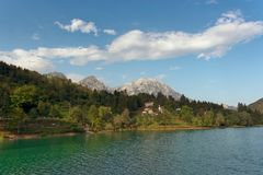 Barcis, Pordenone, Italy a picturesque place by the lake.  stock photography
