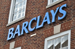 Barclays. Sign of Barklays Bank on wall Royalty Free Stock Photography