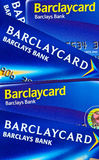 Barclays Bank. Illustration of Barclays Credit Cards. Barclays PLC is a global banking and financial services company headquartered in London, United Kingdom Stock Photo
