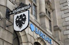 Barclays Bank Logo. Fleet Street Barclays Branch logo in the City of London Stock Photos