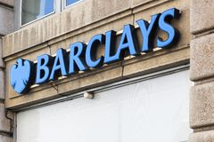 Barclays bank logo on a wall Stock Photos