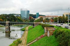 Barclays bank office building and Vilnius educology university Stock Photography