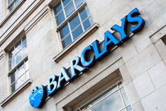 Barclays Bank signage. Picture of the side of a branch of Barclays Bank in London with the word Barclays on the side and to the left of the letter B the bank's royalty free stock photos