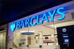 Barclays Bank, St Albans, England. St Albans, England - October, 24th 2011: Sign and logo of the UK bank Barclays Royalty Free Stock Photography