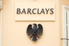 Barclays banka znak i orła metalu logo w Monte, Carlo -, Monaco zdjęcia royalty free