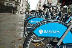Barclays bicycles for hire, London, UK. Bicycle hire scheme sponsored by Barclays Bank in London, UK Royalty Free Stock Photos