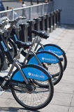 Barclays bicycles for hire, London, UK Royalty Free Stock Images