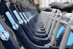 Barclays bicycles in London Stock Photo