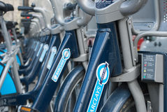 Barclays bikes in London Stock Photography