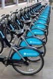Barclays Bikes in London re Boris Johnson. Blue bikes in central London sponsored by Barclays bank and introduced by Mayor Boris Johnson Royalty Free Stock Photography