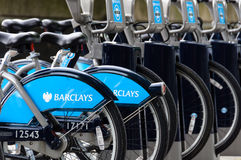 Barclays bikes in London Royalty Free Stock Image