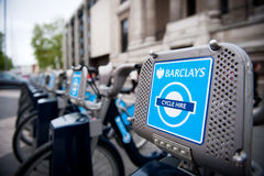 Barclays Cycle Hire docking station in London, UK Royalty Free Stock Photography