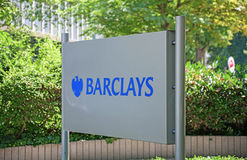 Barclays plc. Frankfurt, Germany - July 7, 2013: Office sign of British multinational banking and financial services firm Barclays plc in Frankfurt, Bockenheimer Royalty Free Stock Photos