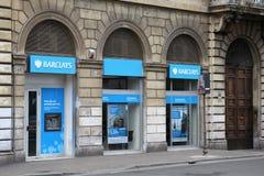 Barclays-Querneigung Stockbilder