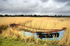 Barco abandonado en cañas Foto de archivo libre de regalías