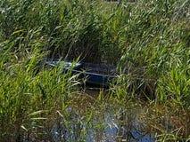 Barco abandonado y comido por el cepillo foto de archivo